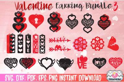 Valentine Hearts Earring Template Bundle 3, Heart Earrings