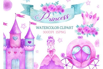 Watercolor princess clipart castle crown carriage clip art Magical