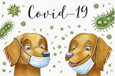 Watercolor illustrations Covid-19 corona virus. Be safe