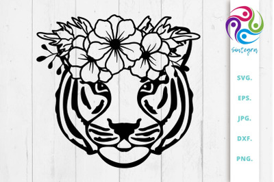 Cute Tiger With Flower Crown On Head Svg File