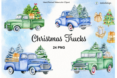 Christmas trucks watercolor clipart. Classic cars old timer clip art.