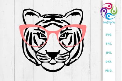 Tiger With Glasses Svg File