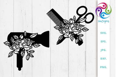 Hairdresser Svg, Hairstylist Svg,Combo and Scissors Svg, Hair dryer