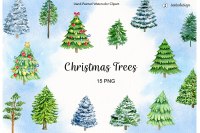 Watercolor christmas tree clipart. Winter forest trees, evergreen pine