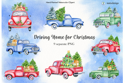 Christmas trucks watercolor clipart. Classic Xmas cars old timer PNG