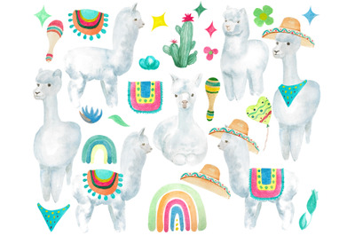 Watercolor llama clipart, Baby shower clip art
