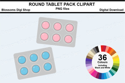 Round Tablet Pack Sticker Clipart, 36 files, multi colours
