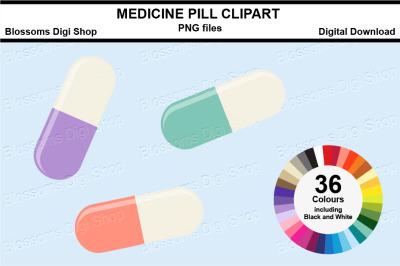 Medicine Pill Sticker Clipart, 36 files, multi colours