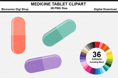 Medicine Tablet Sticker Clipart, 36 files, multi colours