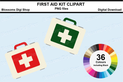 First Aid Kit Sticker Clipart, 36 files, multi colours