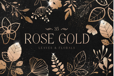 Rose Gold leaves Florals Foil Elements Copper Hand Drawn