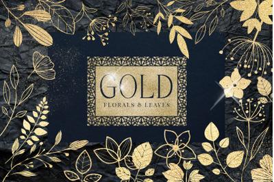 Gold foil textured leaves flowers foil leaves metallic