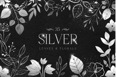Silver Foil Leaves Flowers Florals Hand Drawn Metallic PNG
