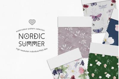 Watercolor Floral Digital Paper Pack Nordic Summer