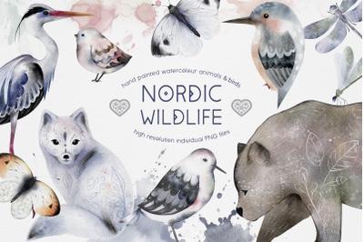 Watercolor Animals Birds Butterflies Nordic Wildlife Bear