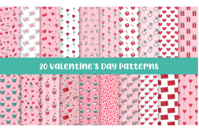 Valentines Day Seamless Repeat Vector Patterns