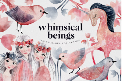 Watercolor Whimsical Beings Illustrations Spring Summer PNG