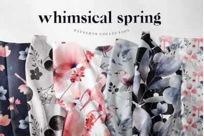 Watercolour Whimsical Spring Flowers Patterns Digital Papers
