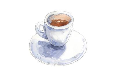 Coffee ristretto - watercolor food illustration