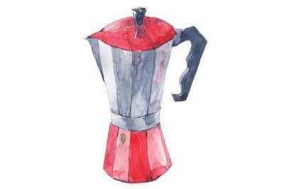 Italian moka coffee maker - watercolor illustration
