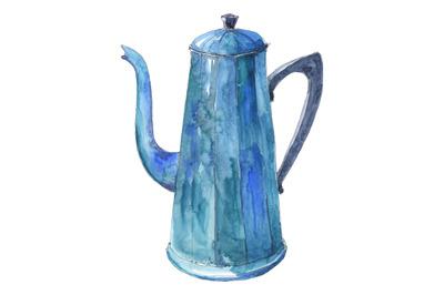Coffee pot - watercolor illustration