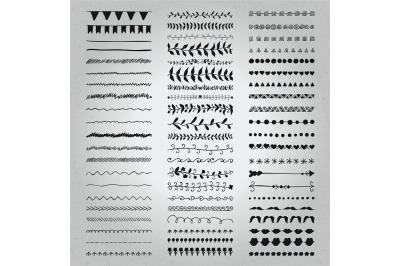 Set of Hand Drawn Black Doodle Line Borders. Rustic Decorative Design.