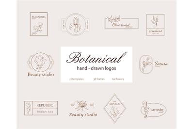 Floral Logo Kit- Elements for logo design- handdrawn art flowers