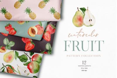 Summer Fruit Digital Paper Pack Seamless Patterns JPEG