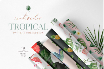 Tropical Vibes Digital Paper Pack Watercolour Flamingo JPEG