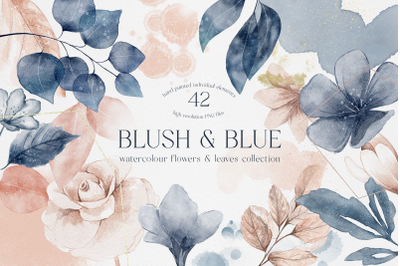 Blush and Blue Leaves Florals Watercolor Splashes Plus Bonus