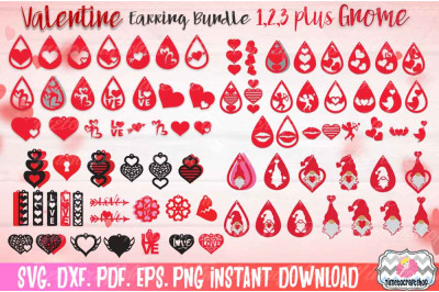Valentine Earring Huge Bundle, Faux leather Earring, Valentine Gnome