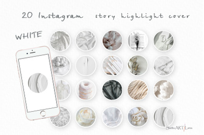 Instagram Story Highlight covers, White Themed
