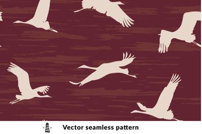 Cranes seamless pattern