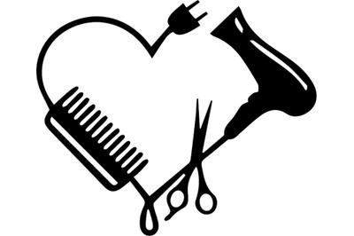 Hairdresser Heart SVG