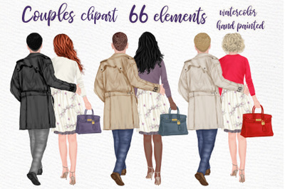 Couples Clpart Elegant man and women Valentines Clipart Png