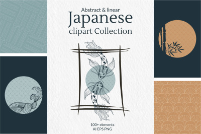 Japanese abstract and linear clipart Collection