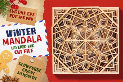 Winter Mandala 3D Layered SVG Cut File