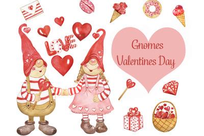 Gnomes Clipart. Valentines day clipart. Scandinavian gnome. Cute Gnome