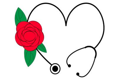 Floral Stethoscope SVG, Flower Heart Stethoscope Svg, Nurse Life svg,
