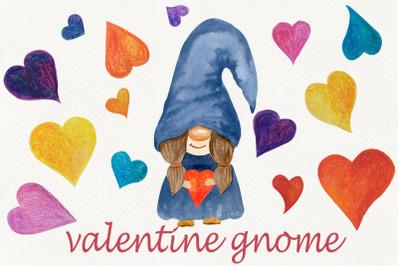 Valentine gnome png clipart, Watercolor cute love clip art