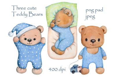 Three cute Teddy bears in blue. Watercolor.