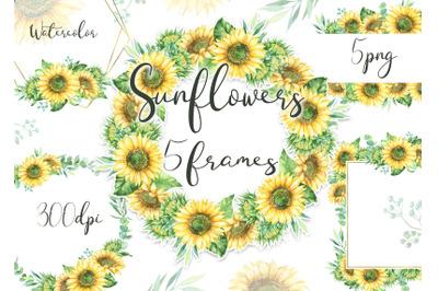 Sunflowers frames clipart sunflower wreath border clip art Autumn Wedd
