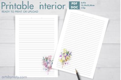 Soft watercolor flower KDP print journal
