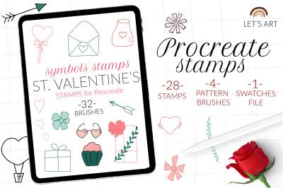 Valentine doodle Procreate stamps