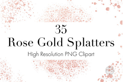 Rose Gold Splatters Clipart, Rose Gold Glitter, Rose Gold Overlays