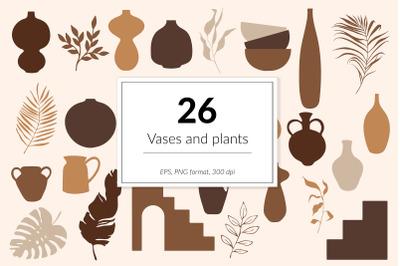 Vases, pots and plants clipart