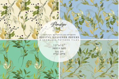Watercolor Green Gold Leaves Seamless Pattern Pack