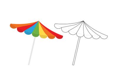 Beach Umbrella Fill Outline Icon