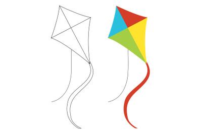 Beach Kite Fill Outline Icon