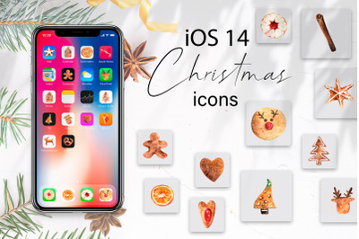 Christmas iOS 14 Watercolor Icons. Gingerbread cookies. Festive  home